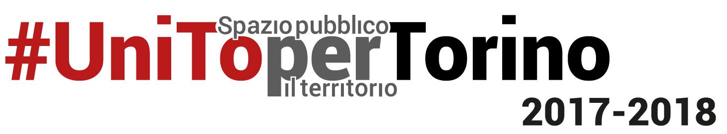 Logo del ciclo di conferenze-eventi #UniToperTorino con il titolo #UniToperTorino e il sottotitolo Spazio pubblico per il territorio