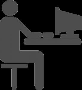Icona con una persona che lavora al pc