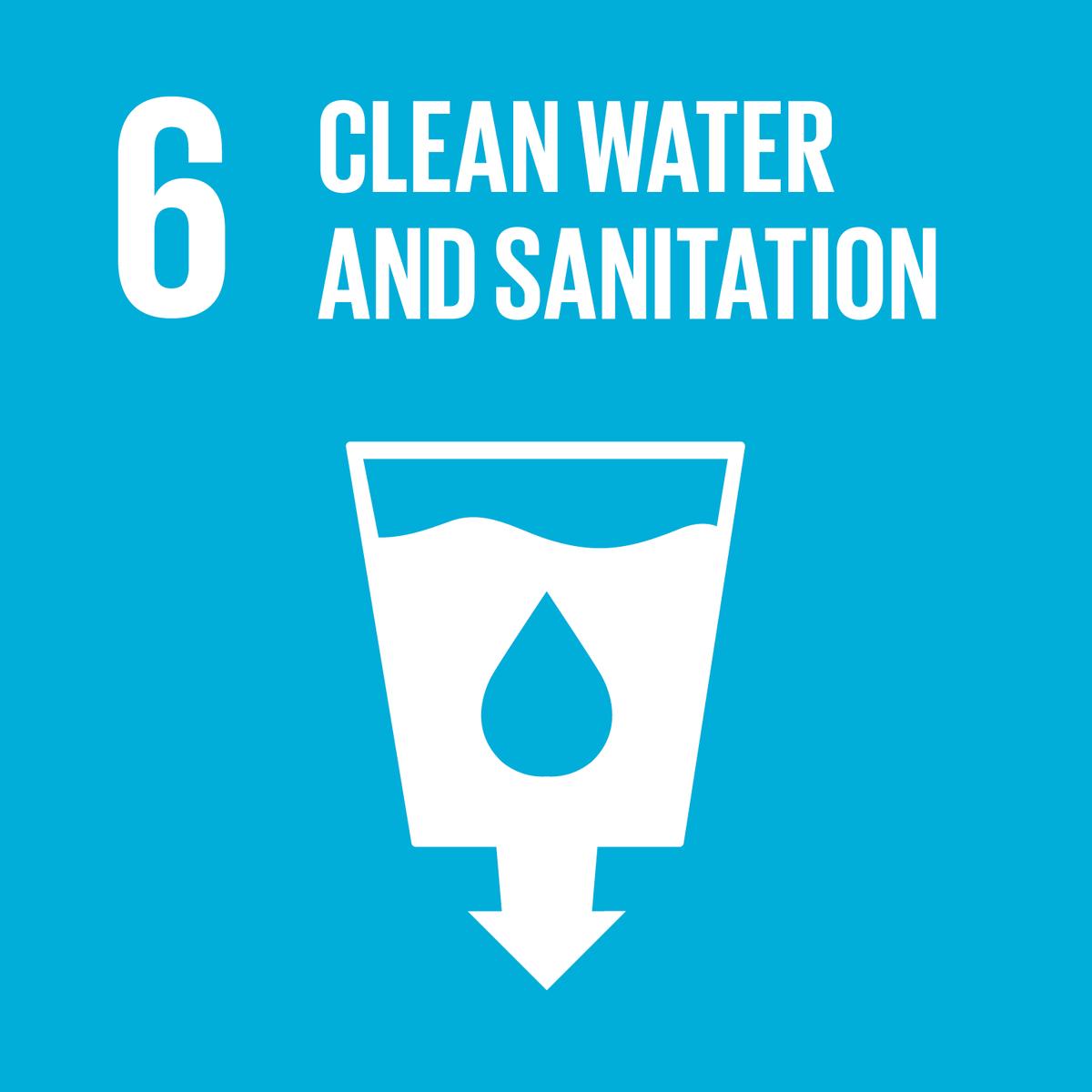 Icon Clean water and sanitation con bicchiere d'acqua e freccia verso il basso