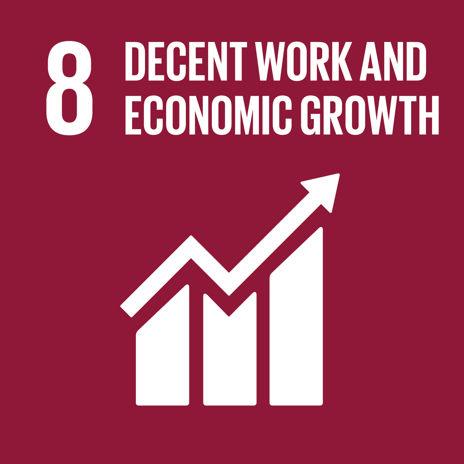 Icona Decent work and economic growth con grafico in crescita