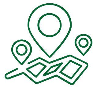 Icona con un segno puntatore e una mappa