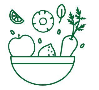 Icona con una ciotola di verdura e frutta