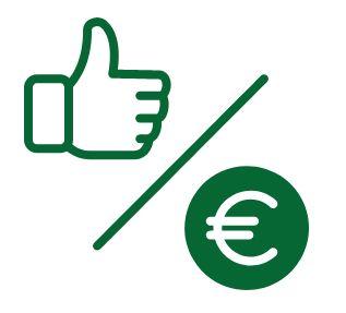 Icona con un pollice alzato e il simbolo dell'euro